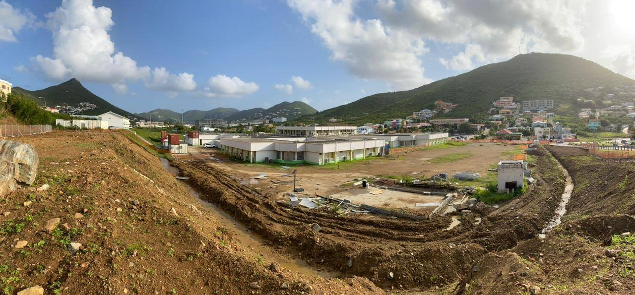 St. Maarten General Hospital (SMGH) construction site upper view.